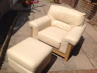 Leather cream chair and foot stool
