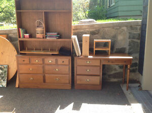 Solid wood dresser, desk, and bookcase