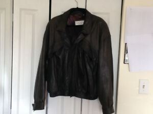 Rare mens grey leather bomber jaclet