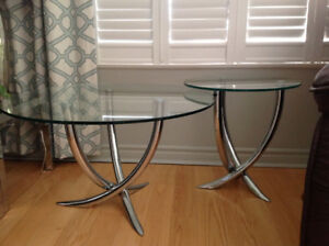 Glass and Crome coffee table and end table