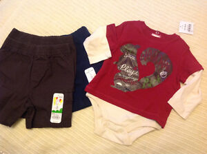 2 NEW BABY SHORTS AND ONESIE