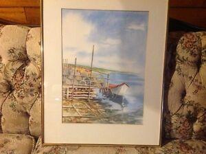 Framed Cape Breton Scene Lobster Fishing & Signed