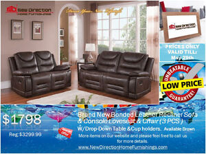 ◆Brand New 3pcs Bonded Leather Recliner Set Blowout@NewDirection