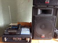 Full PA system wharfedale,pro sound,trantec,Sony,ales is multi mix mixer