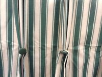 Custom made designer curtains in green and cream stripe drop is 107cm ,width is 82cm each