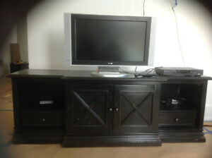 Hooker TV Stand - Black Distressed Solid Wood