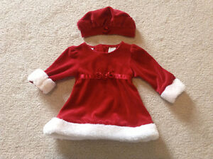 Adorable Girl's Santa Dress with Matching Hat - Size 3-6 Months