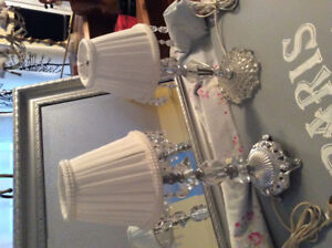 Two Gorgeous little crystal bedside lamps mint condition