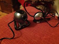 Logitech Webcam and Headphone