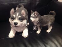Resin husky with pup