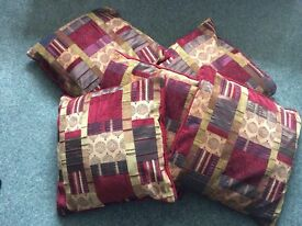 5 x cushions red and gold