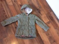GIRLS PARKA WINTER COAT KHAKI GREEN WITH HOOD SIZE 2-3YEARS