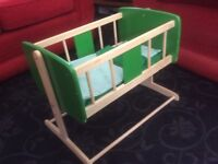 Child's wooden cot for dolls