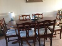 Dining room table 4 chairs and 2 carvers