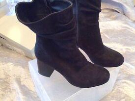Calf length block heel boots