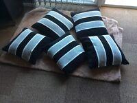 5 cushions grey black and white