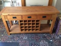 Solid Oak Large Console Table
