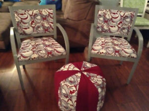 2 Side Chairs and pouff ottoman
