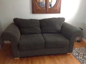 Sofa, love seat, two end tables and coffee table