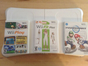 3 jeux:  Wii Fit Plus, Mario Kart et Wii Play