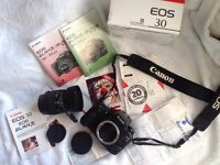 AS NEW BOXED CANON EOS 30 FILM CAMERA WITH 28-80mm LENS, IMMACULATE!!