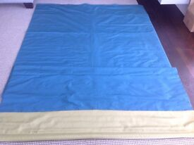 ROMAN BLIND, FAUX SILK, TURQUOISE WITH LIME GREEN BORDER, 160cm wide, 290cm long