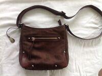 Tula brown leather and canvas crossbody handbag