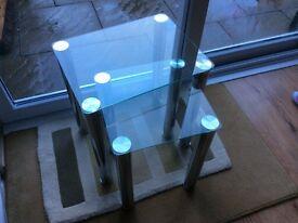 Next set of glass & chrome side tables