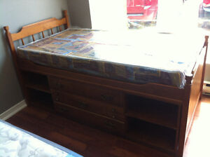 EUC wood captains bed a/drawers/shelves and new sealed mattress
