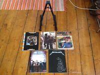 5 x guitar chord and lyric books & guitar stand
