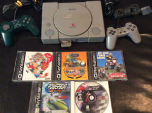 Playstation 1 With 2 Controllers and 5 Child Friendly Games