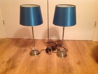 2 brass effect table lamps with blue shade