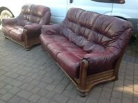 Ox Blood Leather / Oak Wood 2 & 3 Seater Pod Sofas