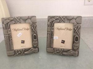 2 Ross picture frame 3.5 x5/  golfer mug, wooden picture frame