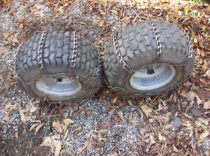 Lawn tractor wheels with chains