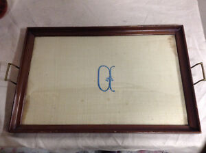 684: Antique Monogrammed Wood and Glass Tray