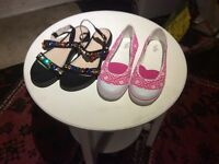 Jewelled sandals &a pink &a white sandshoes