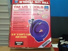 "TM US Tools 3/8""x 50ft x 15m Air Hose Reel with hose"