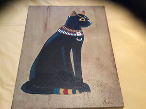 2 toiles art égyptien de Sylvie Larose, artiste peintre