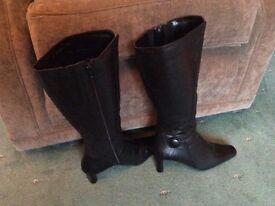 Ladies black knee boots