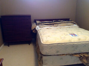Double bed, frame, head board, chest of drawers