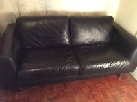 Habitat black leather sofa