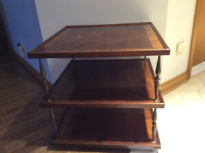 3 tier vintage table with solid brass legs
