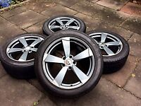 "18"" AUDI ROTOR ARM ALLOY WHEELS & TYRES ( AUDI,VW,MERCEDES,SKODA,GOLF, PASSAT,VITO,CADDY)"