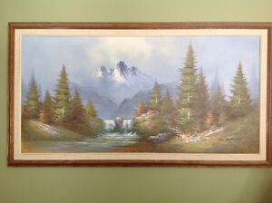Large 52x30 oil painting with wood frame