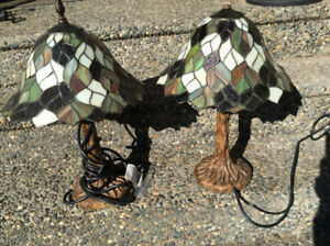 2 (pair of stained glass outdoor lamps for sunroom
