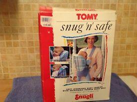 Tomy snug 'n' safe baby carrier/sling, new, boxed.