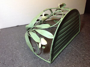 """Rustic metal shelf with green floral detail 13"""" tall x 15"""" wide Cambridge Kitchener Area image 4"""