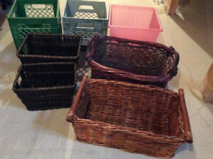 IKEA natural baskets and milk crates great for storage