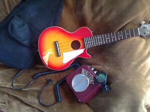 Ukulele Electric Gibson Les Paul with Honeytone Amp